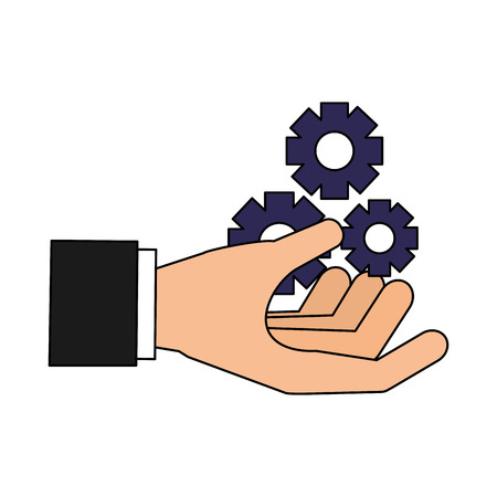 hand with gears search engine optimization vector illustration Banco de Imagens - 127561098