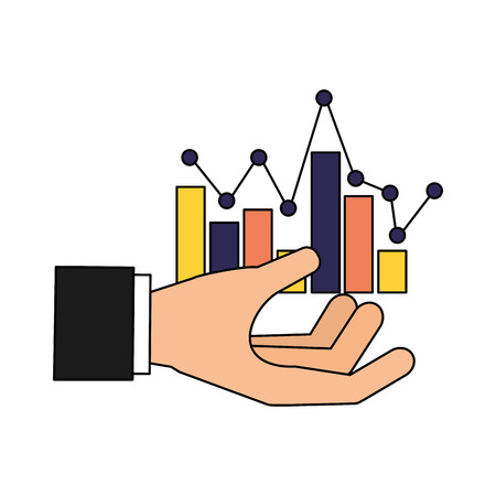 hand with statistics chart search engine optimization vector illustration