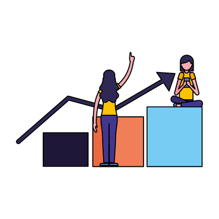 women and statistics diagram search engine optimization vector illustration