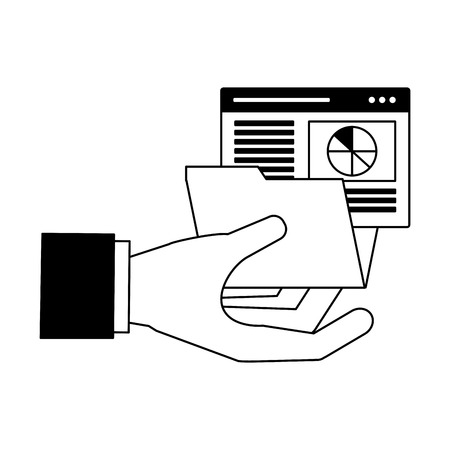 hand with folder report search engine optimization vector illustration Vettoriali