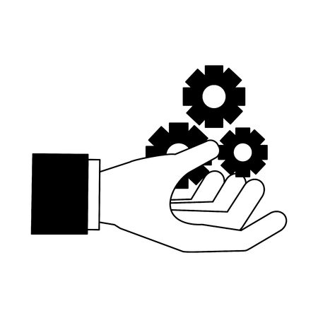 hand with gears search engine optimization vector illustration