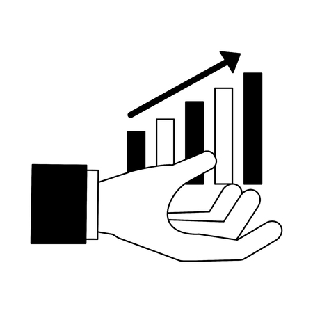 hand with statistics bar search engine optimization vector illustration