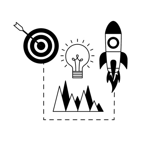 rocket target and creativity search engine optimization vector illustration
