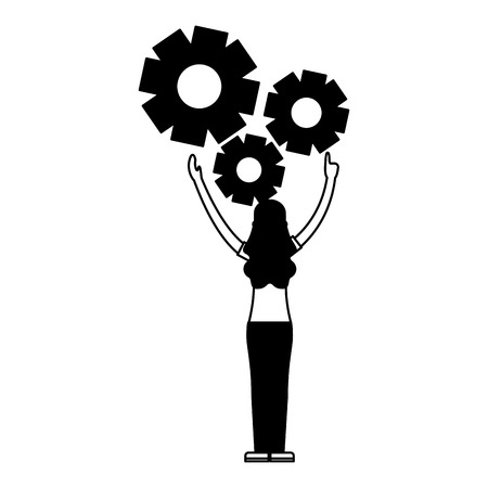 woman with gears settings work vector illustration Stock Vector - 127561115