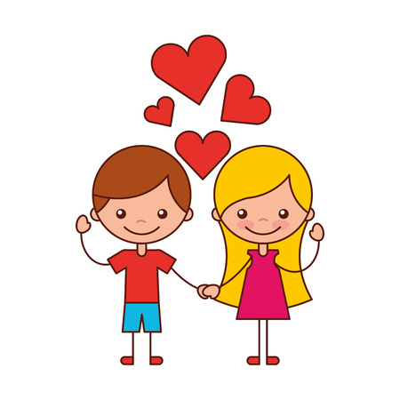boy and girl love hearts cartoon vector illustration