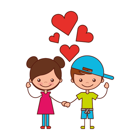 boy and girl love hearts cartoon vector illustration