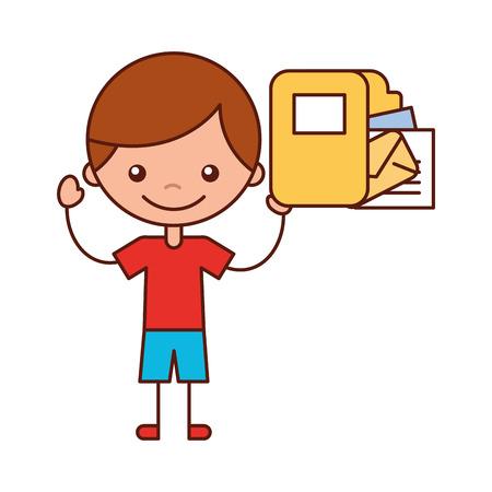 boy holding folder envelope and papers vector illustration Illustration