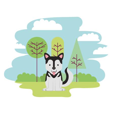 cute dog sitting in the park vector illustration Illustration