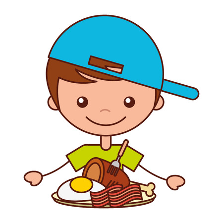 boy with chicken bacon and egg fried vector illustration