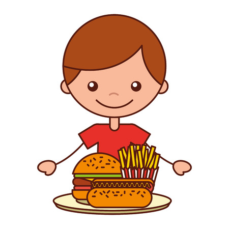 boy with burger hot dog and french fries vector illustration Banque d'images - 127561152