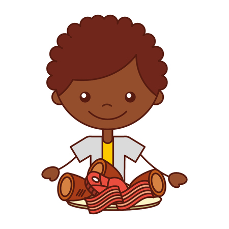 boy with chicken bacon meat pork vector illustration