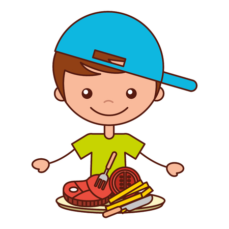 boy with meat french fries tomato vector illustration