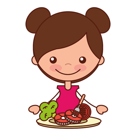 girl with pork tomato and broccoli vector illustration