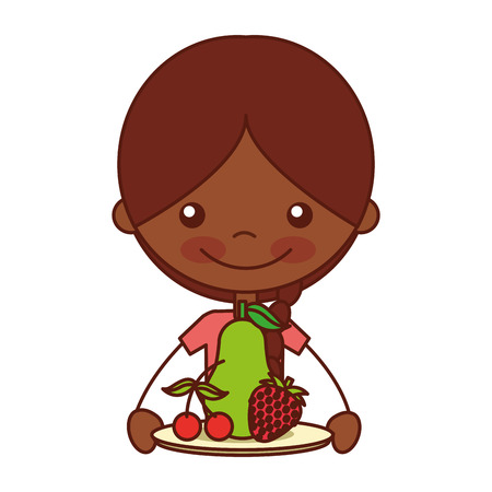 girl with pear strawberry and cherry vector illustration