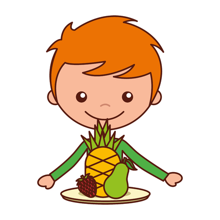 boy with pineapple pear and strawberry vector illustration Ilustração