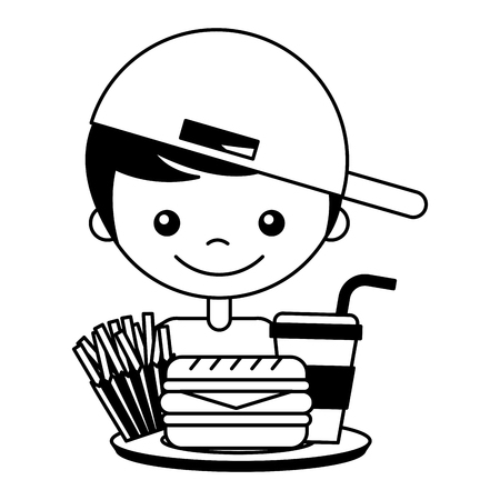 boy with burger soda and french fries vector illustration Banque d'images - 127561164