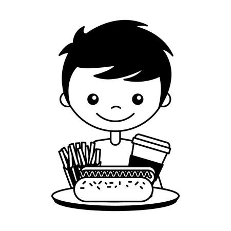 boy with hot dog soda and french fries vector illustration