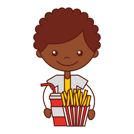 boy with fresh fries and soda vector illustration Imagens - 112323957