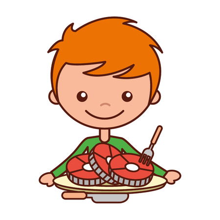 boy with slices pork and fork knife vector illustration Illustration