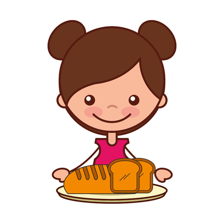 girl with bread food on dish vector illustration