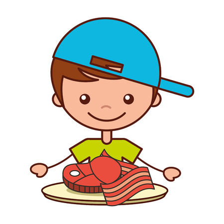 boy with meat and bacon food vector illustration