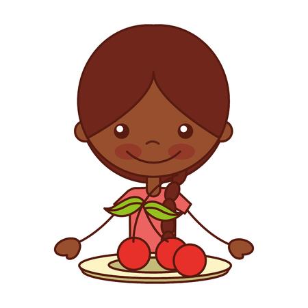 girl with fresh fruit cherries vector illustration