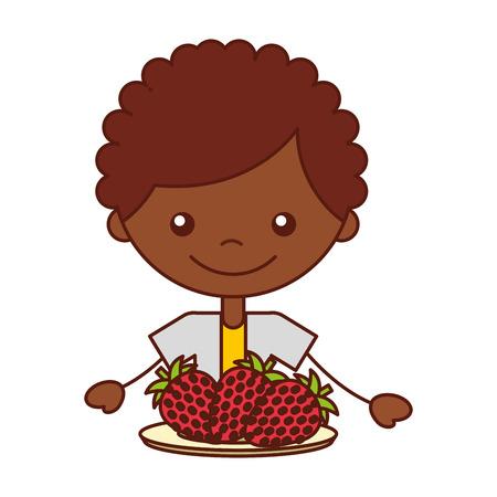 boy with fresh fruit strawberry vector illustration