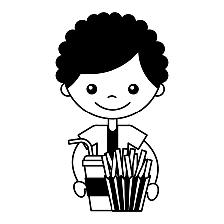 boy with fresh fries and soda vector illustration Imagens - 127561190