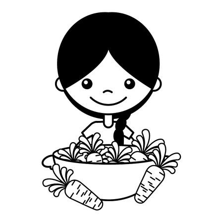 little girl with carrots on bowl vector illustration Standard-Bild - 127561191