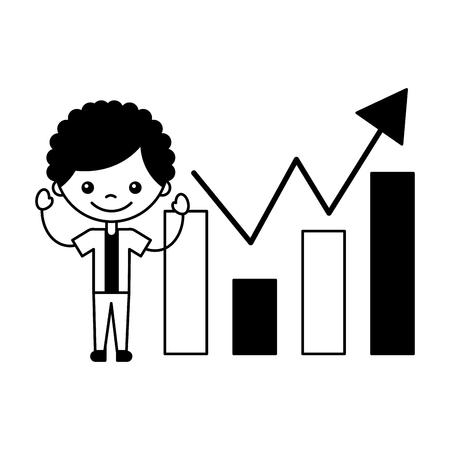 boy with statistics chart bar vector illustration