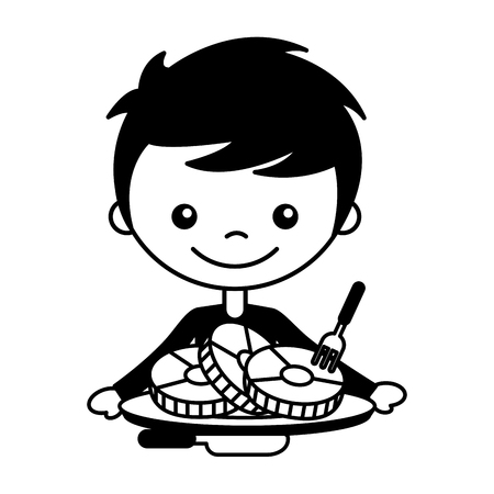 boy with slices pork and fork knife vector illustration Ilustrace