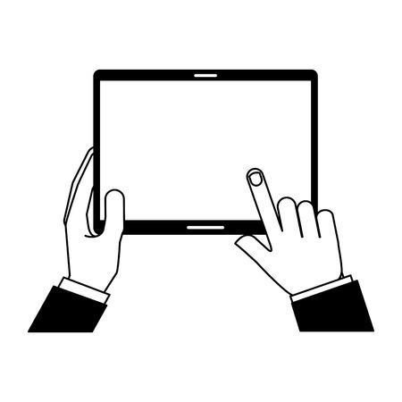 hands holding tablet computer gadget vector illustration Vecteurs