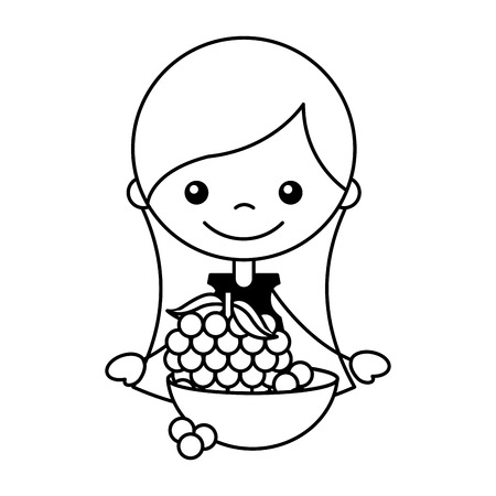 girl and bowl with grapes vector illustration