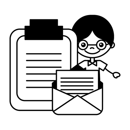 boy email clipboard document report vector illustration