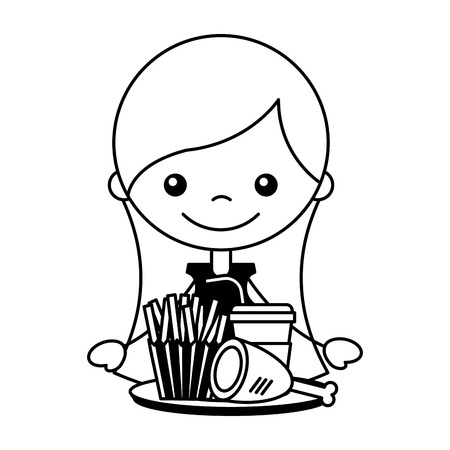girl with chicken french fries and soda vector illustration