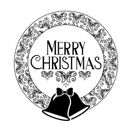 wreath merry christmas decoration celebration vector illustration
