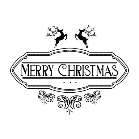 lettering merry christmas decoration celebration vector illustration