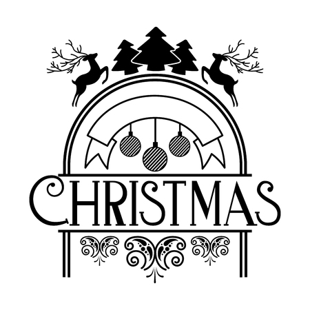 lettering merry christmas decoration celebration vector illustration