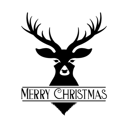 deer and ribbon merry christmas decoration vector illustration Archivio Fotografico - 127561232