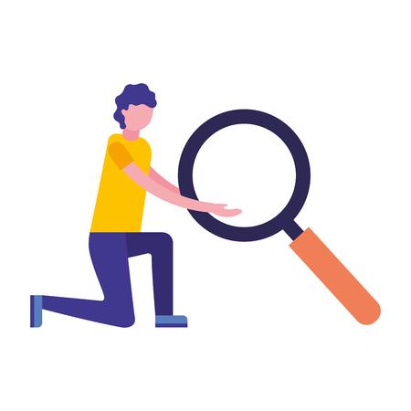 man holding big magnifying glass vector illustration Ilustração