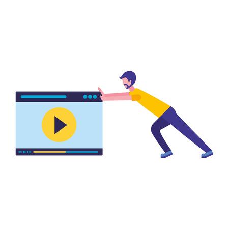 man pushing website video player vector illustration Ilustração