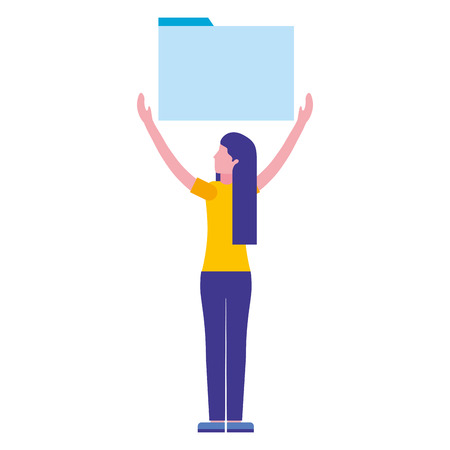 woman holding folder file archive vector illustration