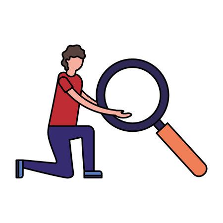 man holding big magnifying glass vector illustration Illusztráció
