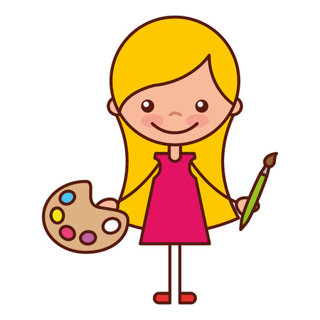 girl with paintbrush and palette school cartoon vector illustration 일러스트