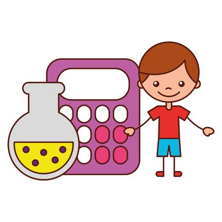 boy calculator and test tube school cartoon vector illustration Standard-Bild - 127561256