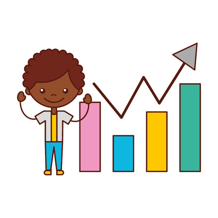 boy with statistics chart bar vector illustration