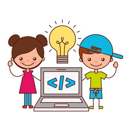 boy and girl laptop bulb creativity vector illustration