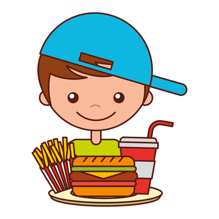 boy with burger soda and french fries vector illustration