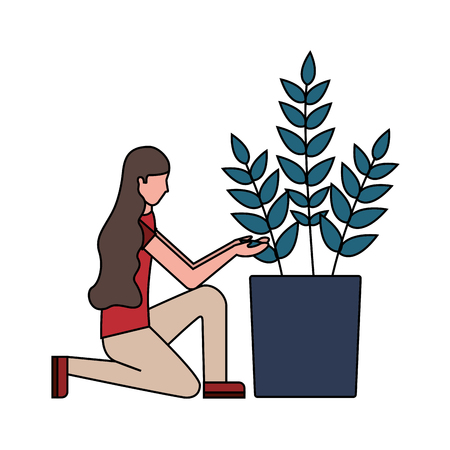 woman with potted plant decoration vector illustration