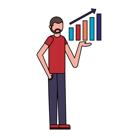 businessman showing statistics chart report vector illustration